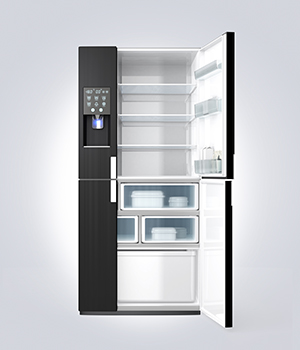 Open Fridge Freezer Water Dispenser