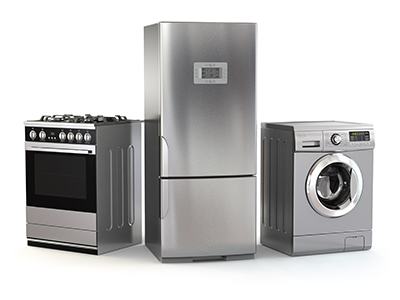 Home appliances - refrigerator, gas oven and washing machine